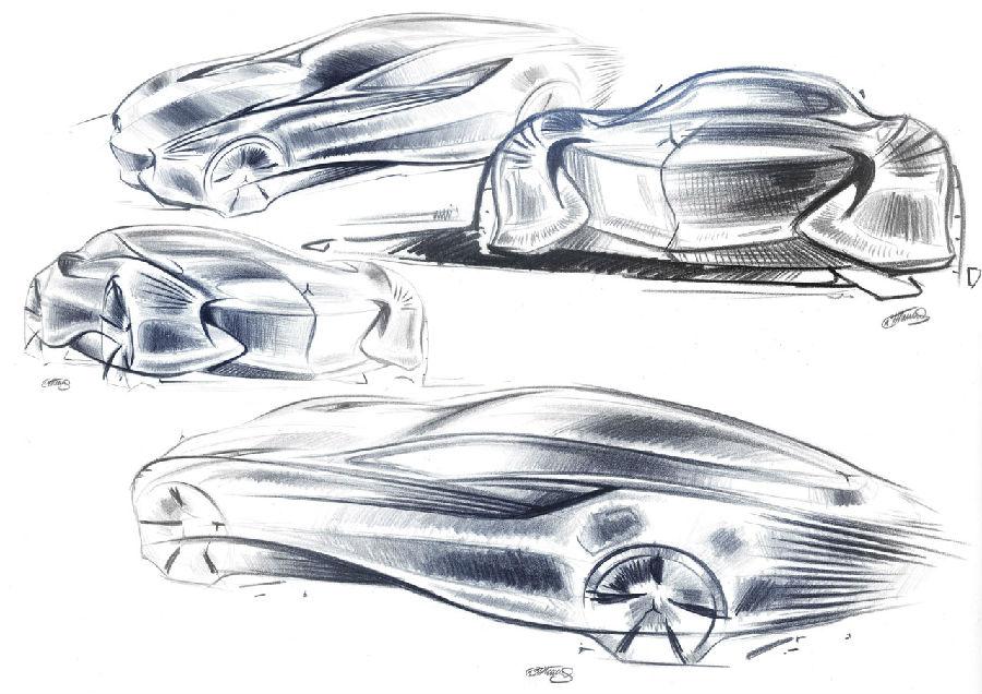 汽车结构素描图片